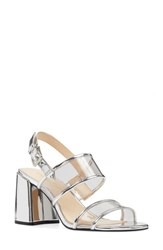 Nine West 'S Gourges Block Heel Sandal Clear Grey Multi Faux Leather