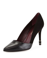 Etienne Aigner Zoe Suede And Lizard Embossed Pump Black