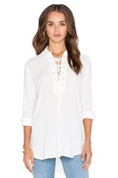 Central Park West Turin Lace Up Top Ivory