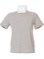 Cityshop Lace Turtle Neck Striped T Shirt Nude And Neutrals