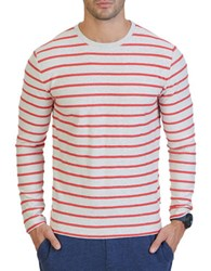 Nautica Slim Fit Striped Terry Crew Shirt Oatmeal Heather
