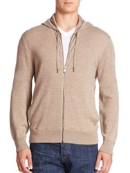 Ralph Lauren Purple Label Cashmere And Silk Blend Hoodie Taupe Heather