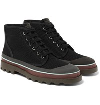 Valentino Rubber Trimmed Eyelet Detailed Canvas Boots Black