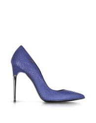 Loriblu Blue Reptile Print Leather Pump