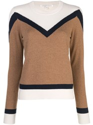 Veronica Beard Colour Block Knitted Jumper Brown