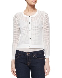 Milly Cropped Mesh Cardigan White