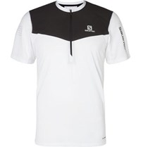 Salomon Fast Wing Stretch Jersey And Mesh Half Zip T Shirt White