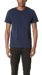 Maison Kitsune Embroidered Fox Pocket Tee Navy