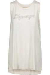 Current Elliott The Muscle Tee Printed Cotton Blend Tank Off White