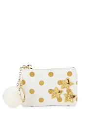 Bow And Drape Star Embellished Dotted Mini Pouch Gold