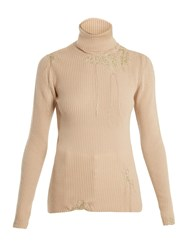 Hillier Bartley Darning Detail Roll Neck Cashmere Sweater Gold