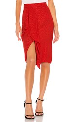 1.State 1. State Ruffle Front Tonal Leopard Pencil Skirt In Red. Cherry Red