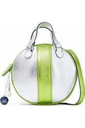 M Missoni Two Tone Metallic Leather Shoulder Bag Silver