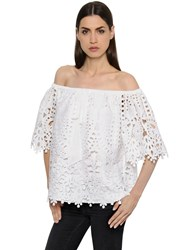 Temperley London Off The Shoulders Macrame Lace Top