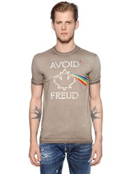Dsquared Freud Print Washed Cotton Jersey T Shirt