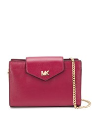 Michael Kors Collection Logo Plaque Shoulder Bag Red