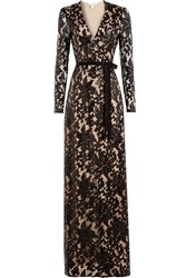Diane Von Furstenberg Sequin Embellished Floor Length Gown With Lace Brown