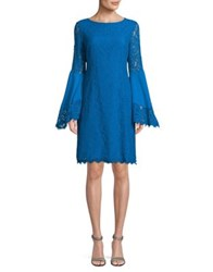 Nue By Shani Floral Lace Bell Sleeve Dress Blue Jewel