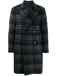 Z Zegna Plaid Double Breasted Coat Grey