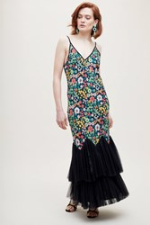 Ottod'ame Floral Print Tulle Trimmed Dress Black