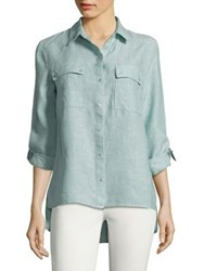 Jones New York Hi Lo Linen Button Down Shirt Sage
