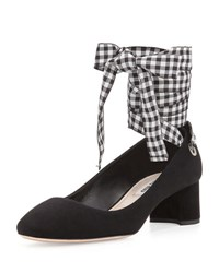 Miu Miu Suede Ankle Wrap 45Mm Block Heel Pump Nero