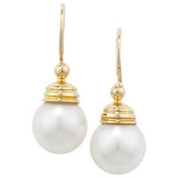London Road Burlington 9Ct Yellow Gold And Pearl Ball Drop Earrings