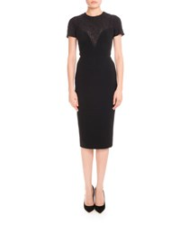 Victoria Beckham Short Sleeve Lace Yoke Dress Black
