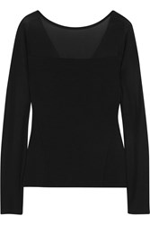 Donna Karan Paneled Stretch Jersey Top Black