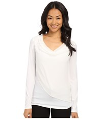 Calvin Klein Long Sleeve Top With Chiffon Overlay Soft White Women's Blouse