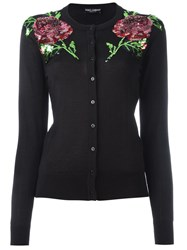 Dolce And Gabbana Rose Sequinned Embroidered Cardigan Black