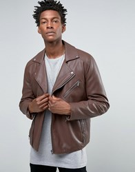 Asos Faux Leather Biker Jacket In Burgundy Burgundy Red