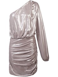 Michelle Mason One Sleeve Mini Dress Metallic