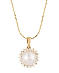Belpearl 14K 9Mm Pearl And Diamond Flower Pendant Necklace
