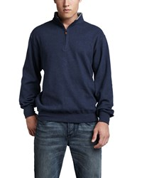 Peter Millar Melange Fleece Zip Sweater Sport Navy