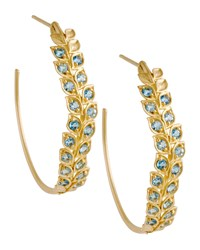 Pave Aquamarine Vine Hoop Earrings Jamie Wolf Pink