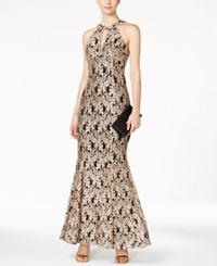 Nightway Lace Keyhole Mermaid Halter Gown Gold Black
