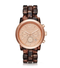 Michael Kors Audrina Faux Tortoise And Rose Gold Tone Watch