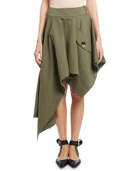 Monse Asymmetric Cropped Skirt Olive