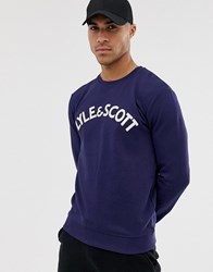Lyle And Scott Embroidered Logo Sweat In Navy