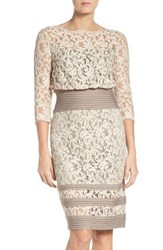 Tadashi Shoji Women's Pleat Waist Lace Blouson Dress Latte Pumice