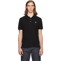 Maison Kitsune Black Tricolor Fox Polo