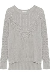 Autumn Cashmere Fringed Open Knit Cotton Sweater Gray