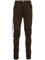 Amiri Frayed Knee Jeans Brown