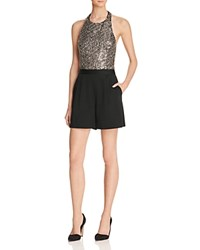 Alice Olivia Nisha Metallic Embellished Halter Romper Black Antique Silver