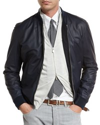 Brunello Cucinelli Reversible Leather And Wool Bomber Jacket Navy Blue