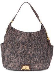 Juicy Couture Snake Print Erin Hobo Bag Leather Nylon Polyester Brown