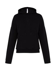 Cottweiler Lotus Print Hooded Cotton Sweatshirt Black
