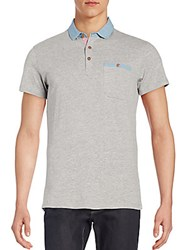 Saks Fifth Avenue Trim Fit Chambray Detail Heathered Polo Shirt Grey