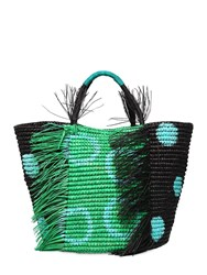 Sensi Studio Maxi Frayed Polka Dot Straw Tote Bag Black Green